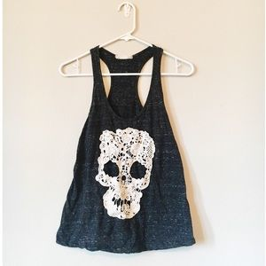 Lace Embroidered Skull Tank Top